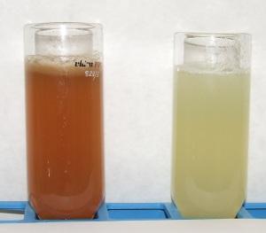 Zumo de pera sin (izq.) y con (der.) ciclodextrinas