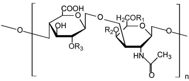 Estructura química de una unidad de cadena de condroitín sulfato