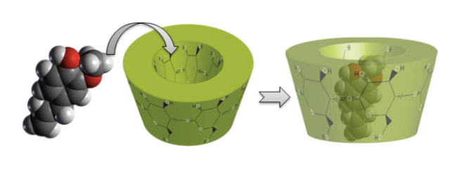 Proceso de encapsulación molecular.