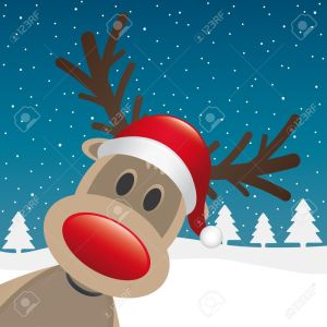 15274661-rudolph-reindeer-red-nose-santa-claus-hat