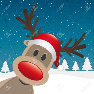 15274661-rudolph-reindeer-red-nose-santa-claus-hat