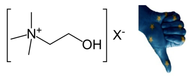 El catión N,N,N-trimetiletanolamonio (con un contraión indefinidio, X-).