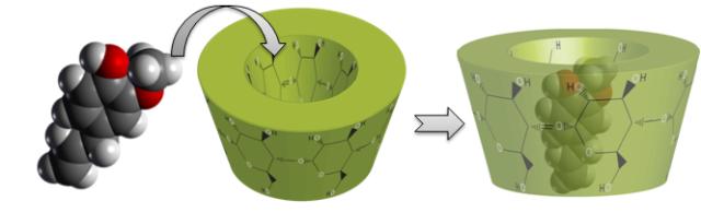 Principio activo siendo encapsulado por una ciclodextrina