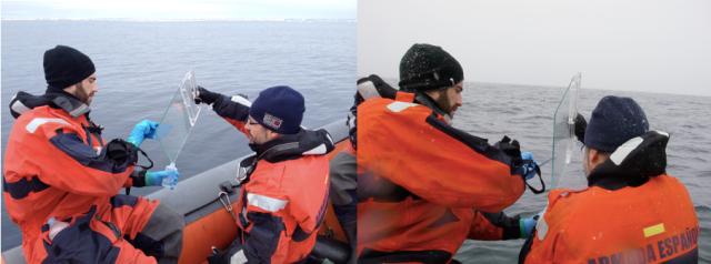 Imagen 8. Muestro de la microcapa superficial océanica, en un día tranquilo (izquierda) y otro con viento y nieve (derecha).